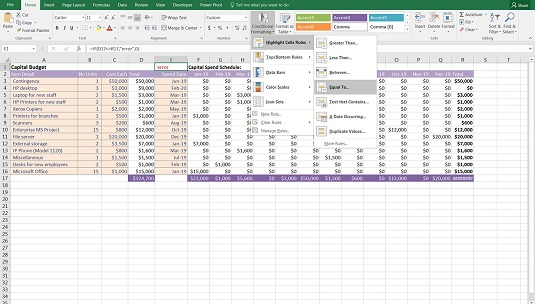 applying conditional formatting to an error check financial modeling