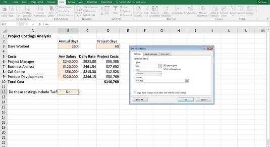 Data validation in financial model