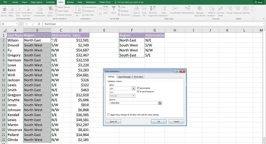 data validation to create dynamic list in financial model