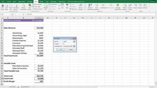 financial modeling goal seek