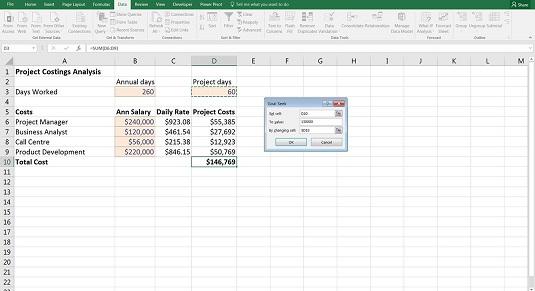 using goal seek in your financial model
