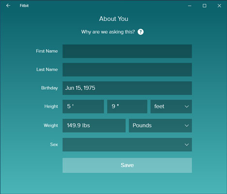 Fitbit About You screen