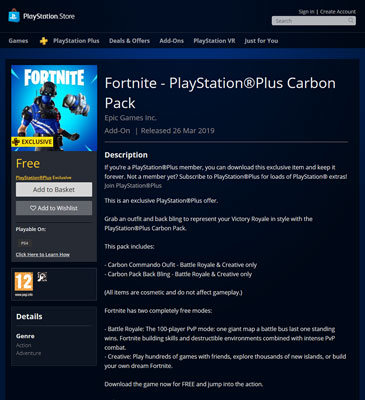 Fortnite–PlayStation Plus Carbon Pack