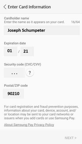 Samsung Pay credit card data