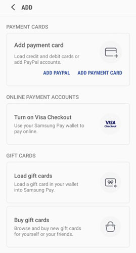 Samsung Pay credit card add page