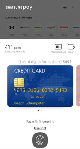 Samsung Pay payment screen