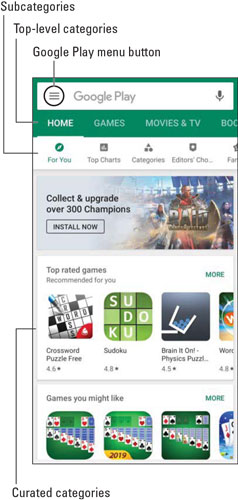 Play Store home page