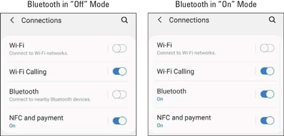The Bluetooth Settings screens.