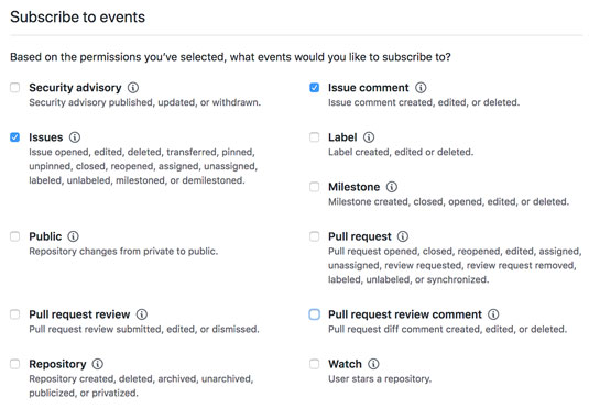 GitHub event subscriptions