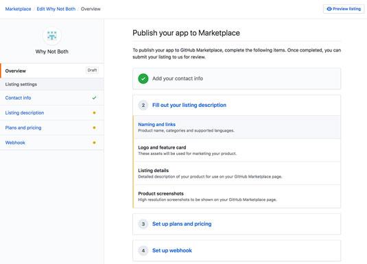 GitHub Marketplace submission