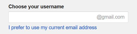 choose google username