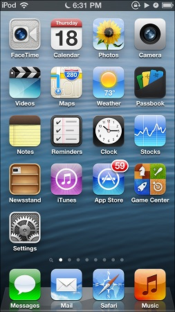 iPod touch home screen