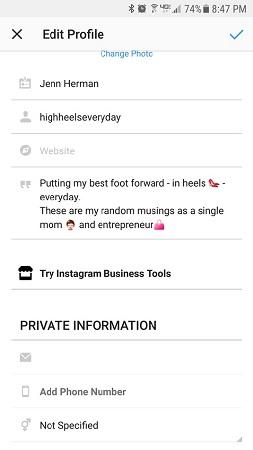 edit instagram business profile
