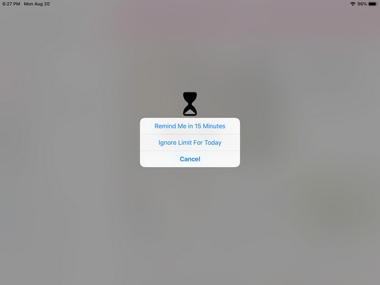 iPad App Limits notifies you of usage