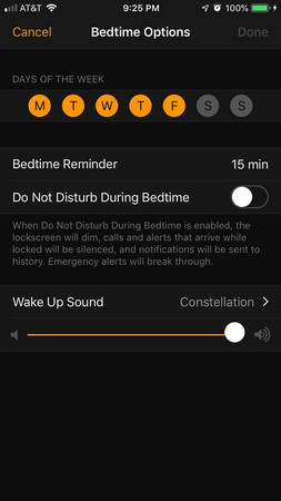 iPhone bedtime toggle