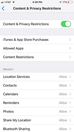 iPhone Content & Privacy Restrictions