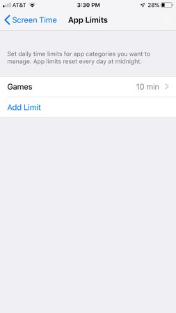 iPhone Downtime app limits button