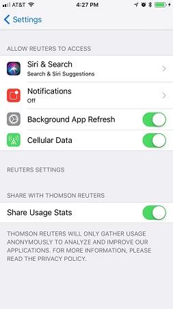 iPhone app settings