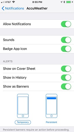 Cover Sheet notifications iPhone