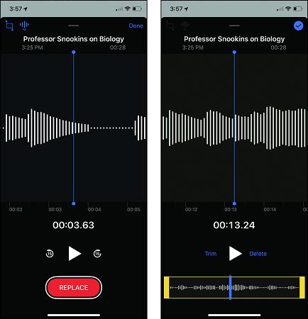 trim iPhone voice recordings