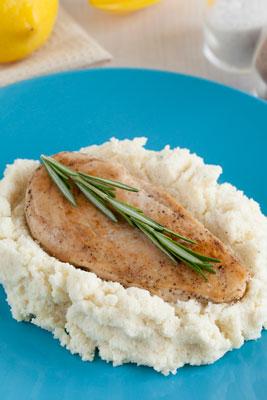 Cauliflower Mash under a chicken breast
