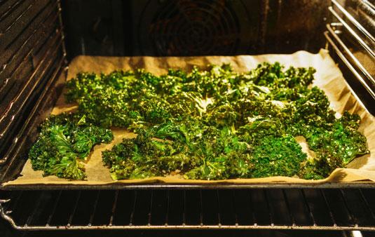 crispy kale on baking sheet