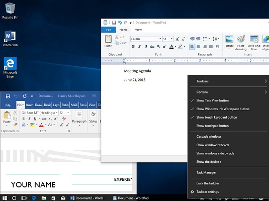 move info between apps Windows 10