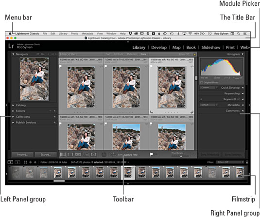 Lightroom Classic interface components