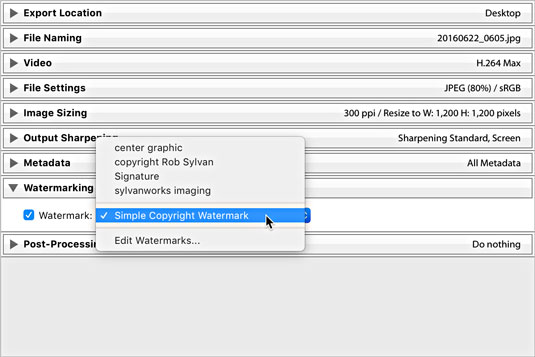 Watermarking options in Lightroom Classic