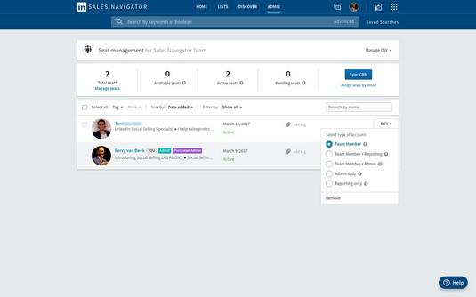 access permissions LinkedIn Sales Navigator