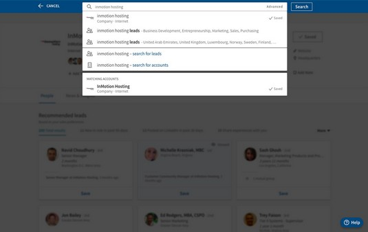 LinkedIn Sales Navigator saved accounts