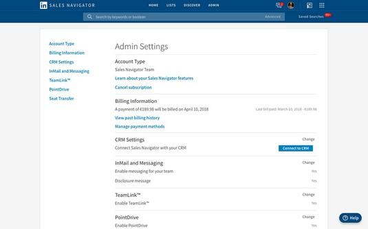 Admin Settings LinkedIn Sales Navigator