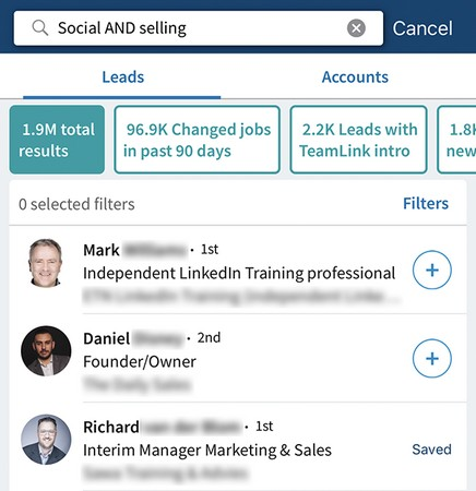 filter Sales Navigator searches