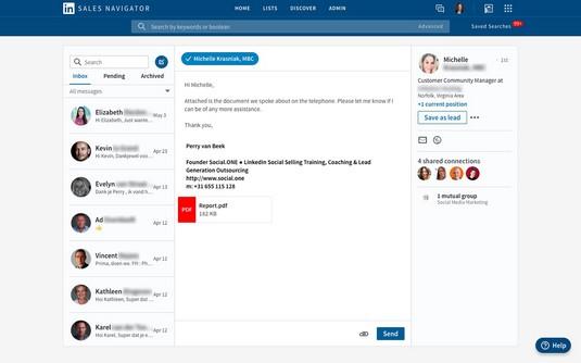 LinkedIn Sales Navigator attachment