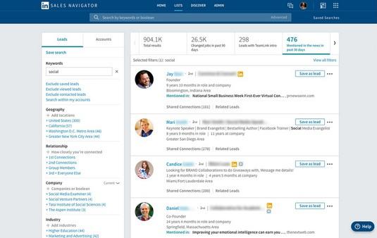 LinkedIn Sales Navigator New Mentions