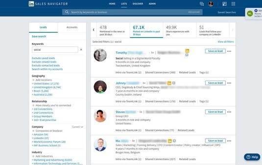 LinkedIn Sales Navigator posted in last 30 days