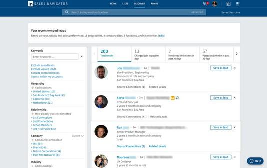 Recommended leads LinkedIn Sales Navigator