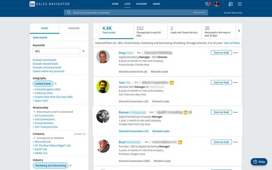 LinkedIn Sales Navigator search results