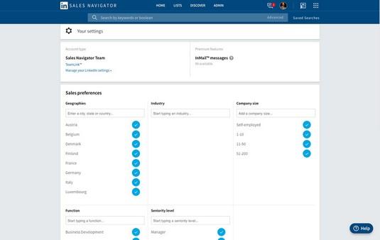 LinkedIn Sales Navigator settings