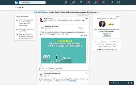 social selling search LinkedIn