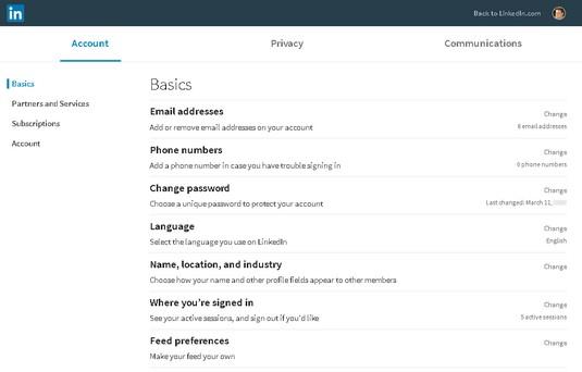 account settings LinkedIn