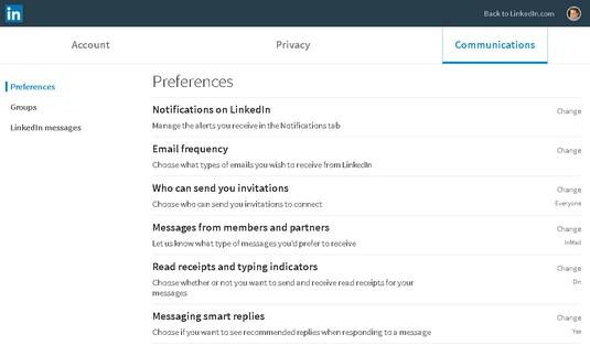 LinkedIn Communication settings