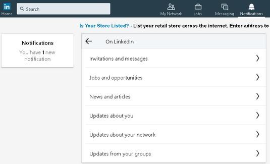 LinkedIN event categories