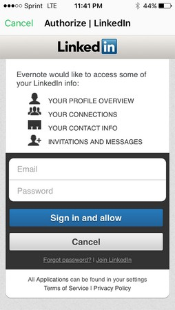 Evernote interface with LinkedIn