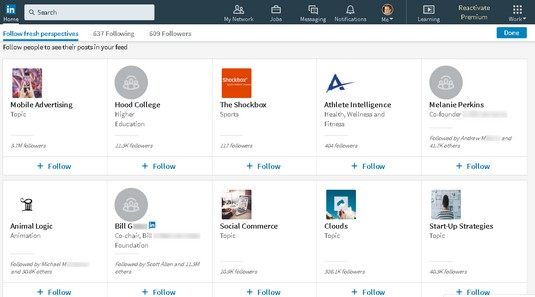 LinkedIn follow recommendations