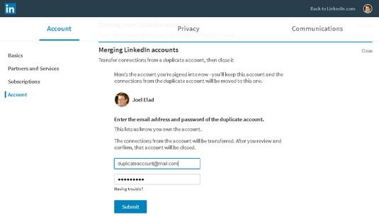 merge LinkedIn accounts