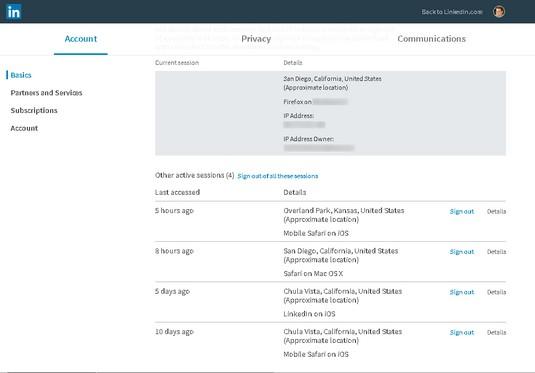 current LinkedIn sessions