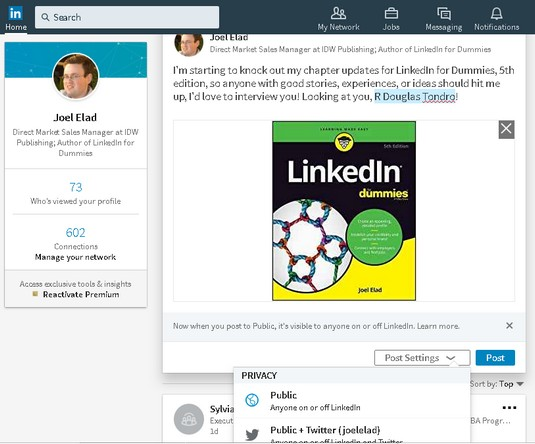 status privacy LinkedIn