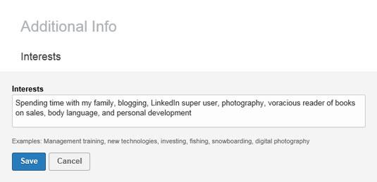 linkedinprofile interests
