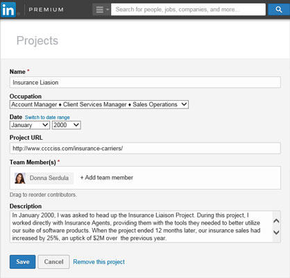 Adding Projects to Your LinkedIn Profile - dummies